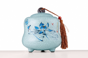 Cylinder Tea Caddy With Crackle Glaze And Picture Of Blue Lotus Flowers