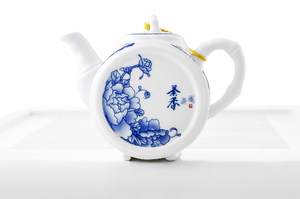Blue And White Peony Tea Set For Traditional Chinese Tea Ceremony