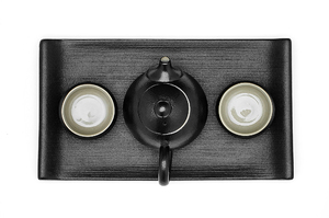 Black Crackle Glazed Taiwanese Style Tea For Two Set