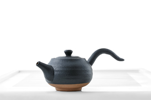 Flat Round Teapot With Black Glaze
