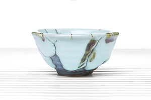 Blue Drip Glazed Conical Tea Bowl With Silver Lotus Incrustation