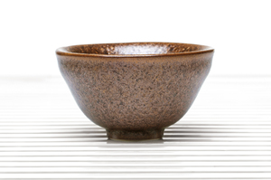 Deep Flared Tea Bowl With Brown And Amber Speckled Glaze