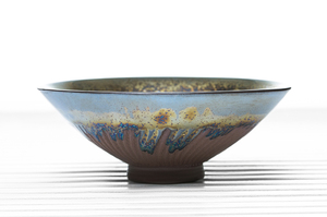 Conical Tea Bowl With Metallic Glaze