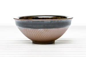 Deep Flared Tea Bowl With Brown Crackle Glaze