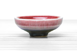 Deep Tea Bowl With Raspberry-Red Crackle Glaze