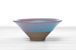 Conical Tea Bowl With Blue And Pink Glazing