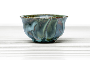Half Cylinder Tea Bowl With Blue Drip Glaze