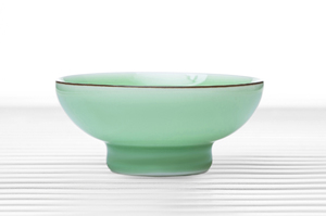 Celadon Round Tea Bowl With Tall Foot